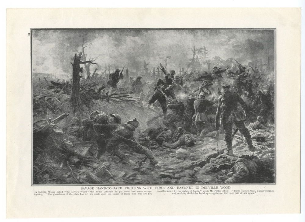 1916 Battle Of Delville Wood Scene Savage Fighting South